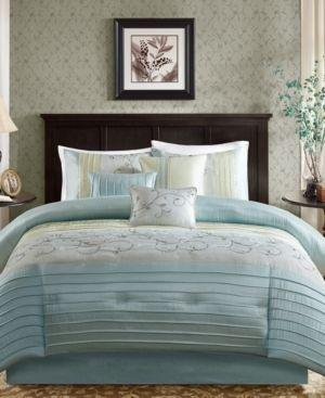 Aqua Moroe Embroidered Comforter Set  Queen  7pc