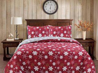 Seaside Resort Snowflakes 3 Piece Grey Red Microfiber King Quilt Set