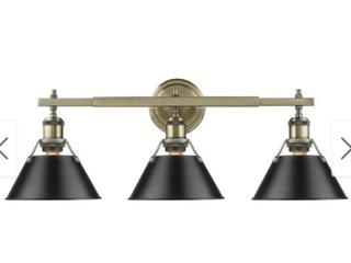 Orwell 3 light Bathroom Vanity light   Aged Brass Finish