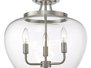 Joliet 3 light Semi Flush Mount Pendant lights   Brushed Nickel