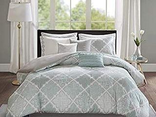Madison Park Cadence 9 Piece Cotton Sateen Comforter Set  King 104 x92  Aqua