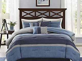 Madison Park Cozy Comforter Set Casual Modern Design   All Season Bedding  Matching Bed Skirt  Decorative Pillows  Collins  Suede Blue Grey King 104 x92  7 Piece