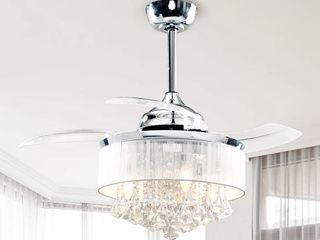 Chrome 36 inch Crystal 3 Blade Ceiling Fan with Remote   Retail 166 49
