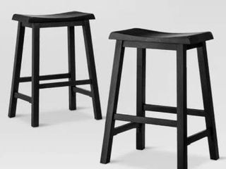 Wooden Counter Height Stool  Set of 2  Black and White  Retail 128 49