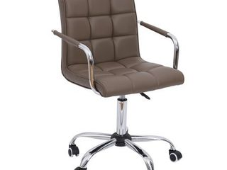 HomCom Modern Tufted PU leather Midback Home Office Chair   Brown  Retail 86 49
