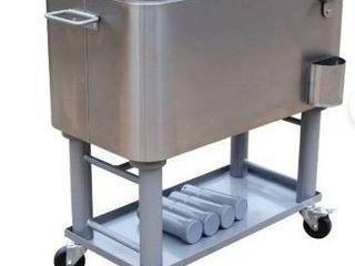 All in 1 60 qt  Silver Finished Steel Detachable Cooler Cart  Retail 228 99