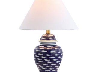 22  School of Fish Ginger Jar Ceramic Metal lED Table lamp Navy  Includes Energy Efficient light Bulb    JONATHAN Y