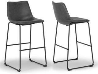 Adan Faux leather Iron Frame Bar Stool  Set of 2  Retail 146 99