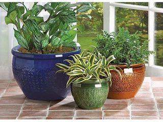 Tri Color Embossed Ceramic Plant Holders   Set of 3  Retail 121 49