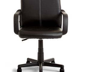 Tufted Black leather Mid back Office Chair