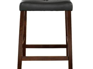 Crosley Furniture Upholstered Saddle Seat Bar Stool with 24  Seat Height  2pk  Retail 95 49