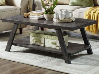 Roundhill Athens Contemporary Replicated Wood Shelf Coffee Table in Charcoal Finish