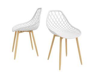 Set of 2 Kurv Dining Chair White Natural   Jamesdar