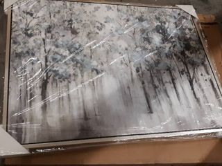 Breckin Casual Blue Gray White Misty Forest Trees Framed Wall Art  Retail 168 49