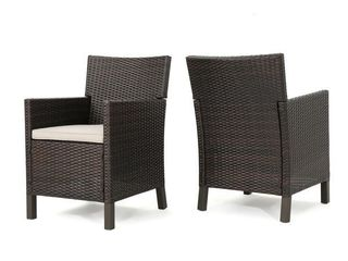 Cypress Outdoor Wicker Dining Chairs with Cushions  Set of 2  by Christopher Knight Home   Brown