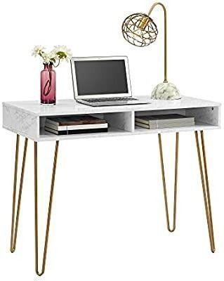 Novogratz Athena White Marble Computer Desk with Storage  Retail 142 49