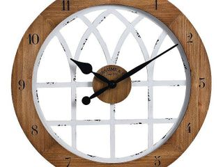 18  Cathedral Arch Wall Clock Weathered Brown White   FirsTime