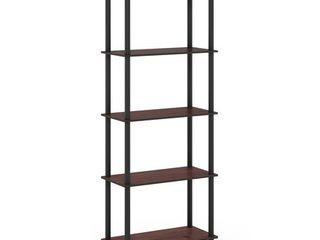 Furinno Turn N Tube 5 Tier Multipurpose Shelf Display Rack  Dark Cherry Black