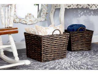 six baskets total Decmode large Square Water Hyacinth Wicker Storage Baskets  Natural  Set of 3  16  14  12