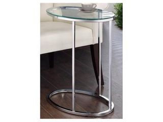 Contemporary Glass and Chrome Snack Table   11 25  x 18  x 24 50