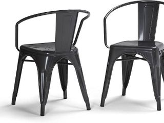 set of 2 dining armchair metal gray