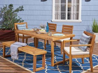 Nestor Outdoor 6 Seater Rectangle Acacia Wood Dining Set with Bench by Christopher Knight Home  Retail 962 49