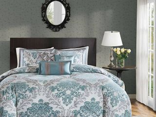 7 Piece Charlize Printed Comforter Set  Cal King    Aqua