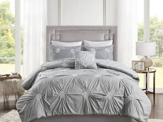 King California King Alicia 4pc Embroidered Cotton Reversible Duvet Cover Set   Gray