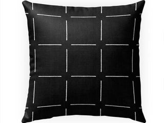BlOCK PRINT SIMPlE SQUARES BlACK Indoor Outdoor Pillow By Kavka Designs   18X18