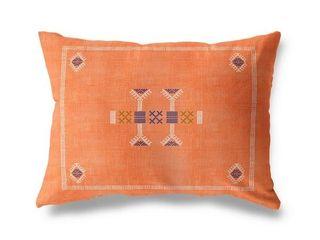 Morroccan Kilim Orange lumbar Pillow By Kavka Designs