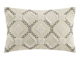 INK IVY Chaaya Ivory  Black Cotton Embroidered Oblong Pillow