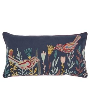 Rizzy Home Blue Birds 14 X 26  Decorative Pillow