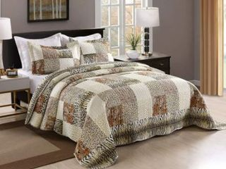 Porch and Den Heckman leopard Print 3 Piece Bed Cal King Quilt Set