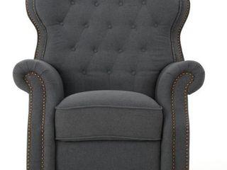 Walder Tufted Fabric Recliner Club Chair  Charcoal