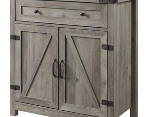 The Gray Barn 30 inch Rustic Barn Door Accent Cabinet  Grey Wash  Retail 209 49