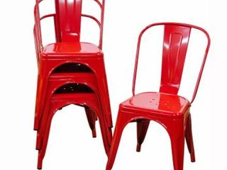 Modern Industrial Style Iron Dining Room Chairs  Red  Set of 4