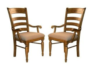 Simply Solid Deschutes Solid Wood Arm Chairs  Set of 2  Retail 328 99