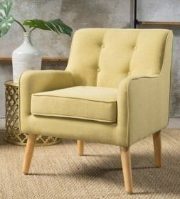 Felicity Mid Century Button Tufted light Green Fabric Arm Chair by Christopher Knight Home  Retail 368 99
