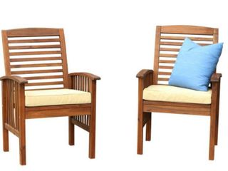 Stockton Outdoor Seater Acacia Wood Set Of 2 Chairs