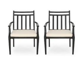 Delmar Outdoor Dining Set of 2 Chairs  Black and Beige With Cushions
