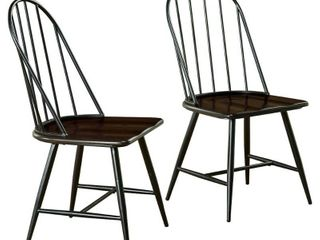 Windsor Mixed Media Dining Chair  Set of 2  Black Espresso