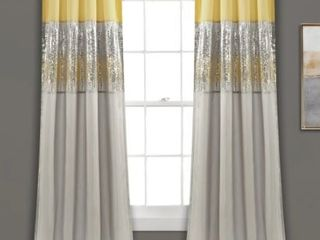 Silver Orchid Page Two tone Faux Silk 84 inch Night Sky Curtain Panel Pair