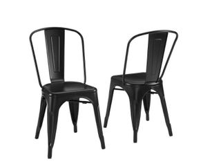17 inch Amelia Metal Chair Matte Black   Crosley  Set of 2