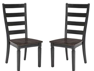 Glenwood Rubbed Black And Charcoal ladderback Side Chairs  Set of 2