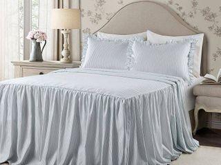 King 3pc Ticking Stripe Bedspread Set lake Blue   lush Decor