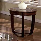 Rianna Oval End Table With Glass  Slight Crack In Base of Table