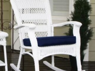 Avoca Coastal White Resin Wicker Outdoor Plantation Rocking Chair by Havenside Home  Retail 576 49