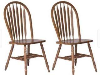 Carolina Crossing Antique Honey Finish Windsor Dining Chair  Set of 2  Retail 214 49