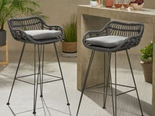 Dale Wicker Barstools with Cushions  Set of 2  by Christopher Knight Home  Retail 258 49