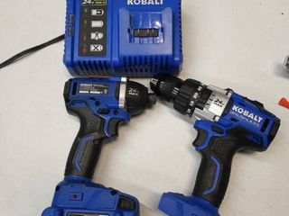 Kobalt 24 volt Max brushless 1 2 inch drill impact driver battery charger and bag